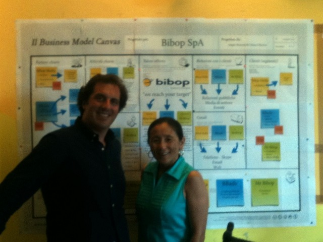 Gigi Wang e Sergio Bonomi posano davanti al Business Model Canvas di Bibop